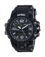 SKMEI 1155 Black Strap Analog-Digital Black white Dial Watch For Men SKM