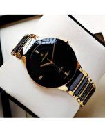IIK Collection Black Chian Analogue Golden Black Dial Boy's Watch 5565