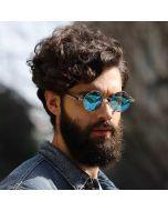 CostaRica Men's Round Sunglasses - Silver Blue